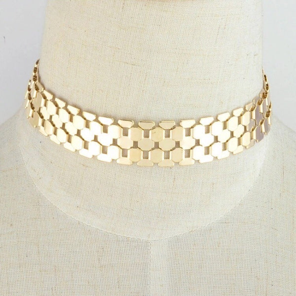 TRACK ME CHOKER GOLD/SILVER