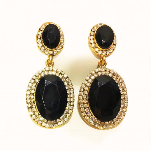 Translucent Oval Crystal Earrings Black