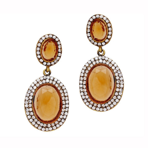 Translucent Oval Crystal Earrings - Mustard Yellow