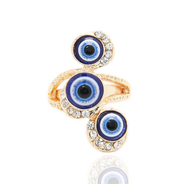 Tri Evil Eye Adjustable Ring