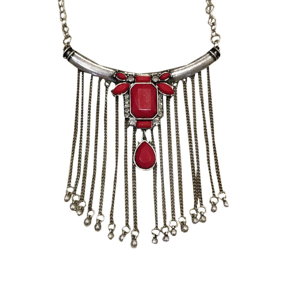 Tribalize Fringe Necklace - Red