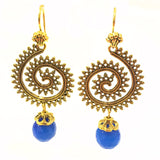 Twirl Drop Dangler Earrings - Gold & Blue