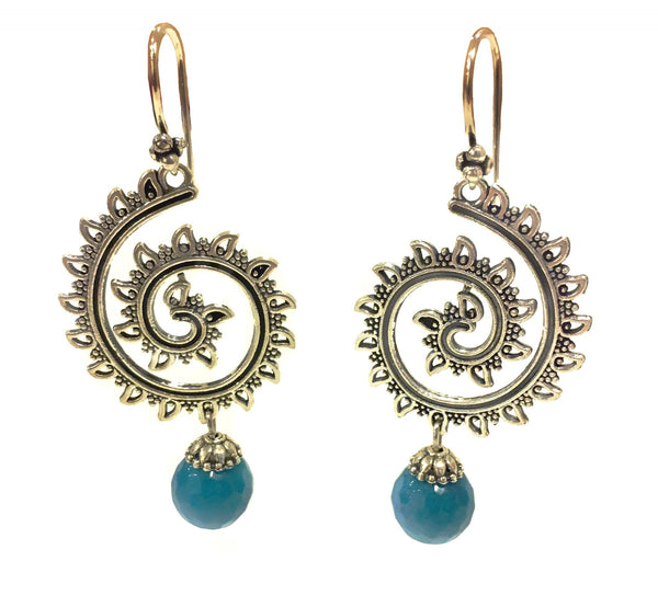 Twirl Drop Dangler Earrings - Silver & Blue