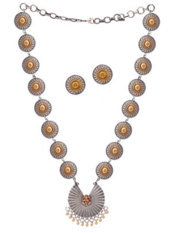 Two Tone Cut Out Ganesh Necklace Set