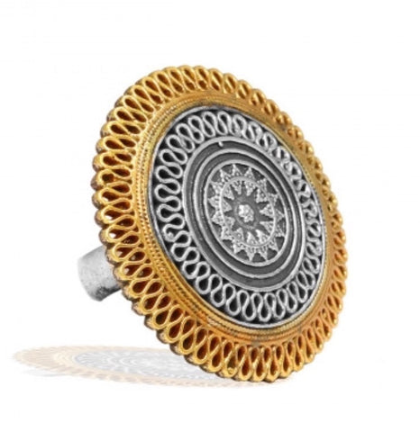 Two Tone Disc Adjustable Ring