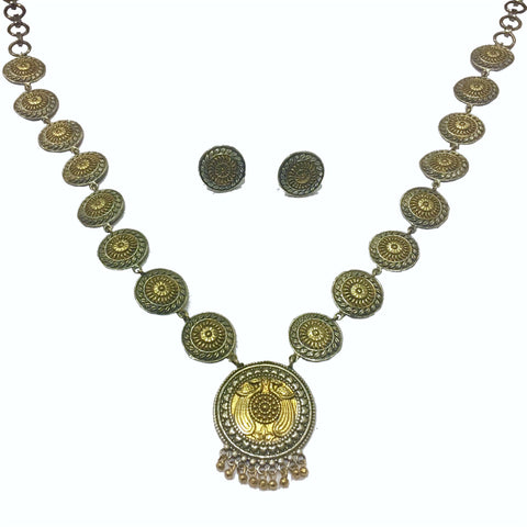 Two Tone Peacock Necklace Set