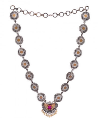 Two Tone Red Stone Necklace Set