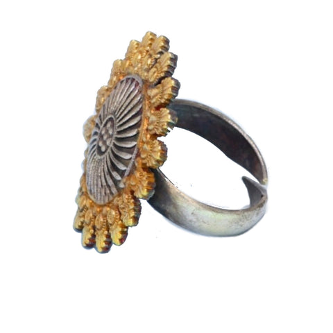 Two Tone Sunflower Adjustable Ring