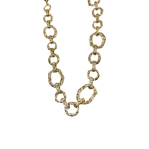 Unchained Stamped Gold Links Chain Necklace
