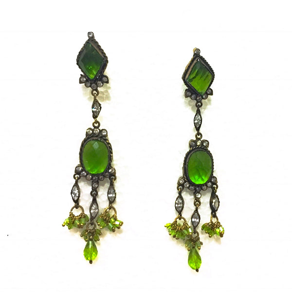 Victorian Green Stone Dangler Earrings