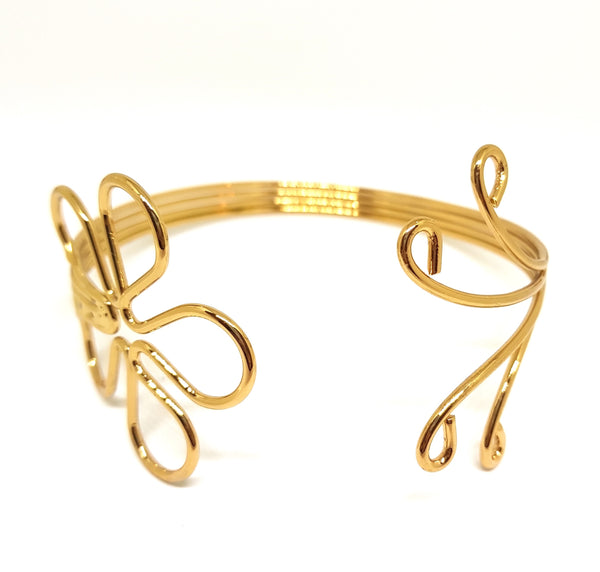 VINE ACCENTED METAL ARMLET ARMBAND GOLD