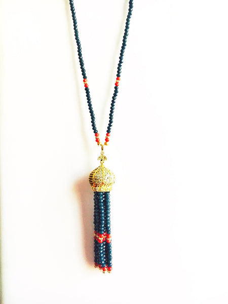 ZIRCON MINARET PAVED TASSEL NECKLACE - BLUE