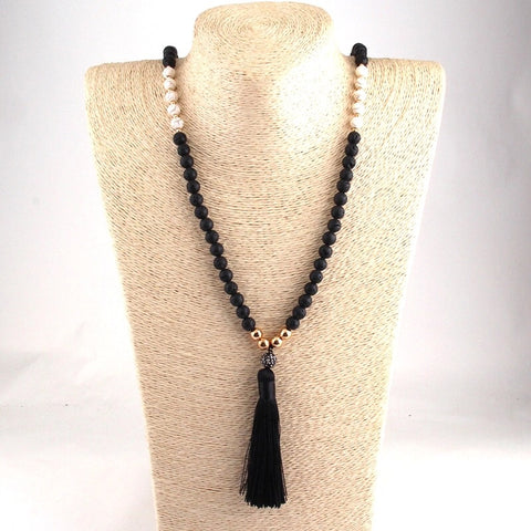My Tribe Lava Stone Tassel Necklace