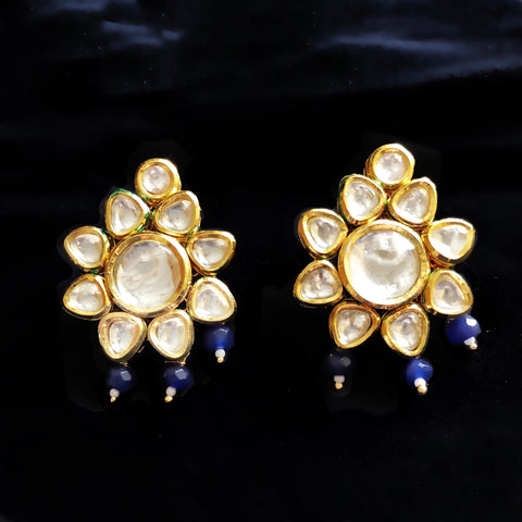Tara Kundan And Drop Earrings Blue