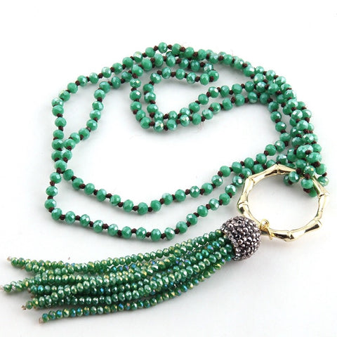 Bamboo Circle Crystal Tassel Necklace - Green