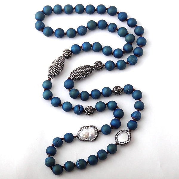 Natural Druzy Stone & Pearl Necklace - Blue
