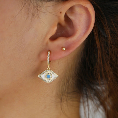 Paved Enamel Hoop Earring