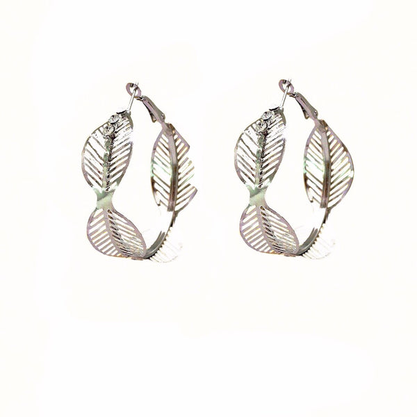 Leaf And Crystal Hoop Earrings