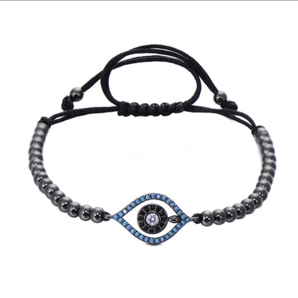 Evil Eye Sanctum Adjustable Pewter Bead Bracelet