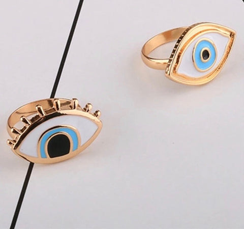 Evil Eye Enamel Set of 2 Rings