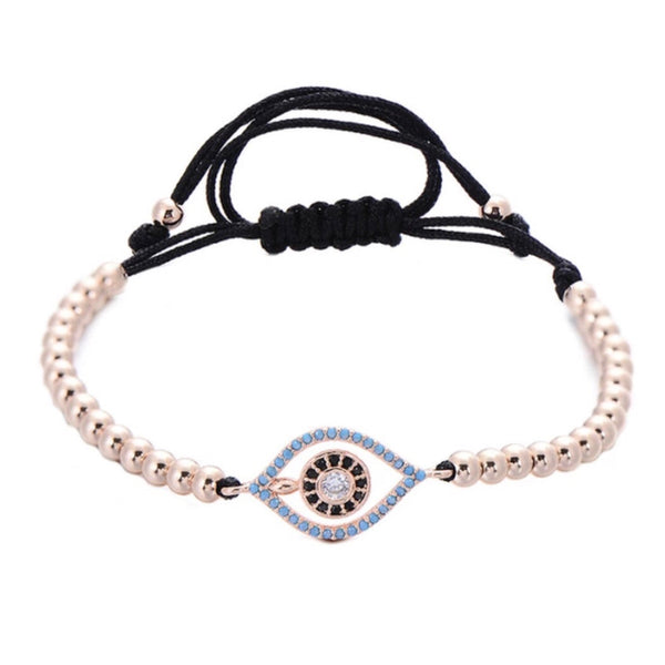 Evil Eye Sanctum Adjustable Rose Gold Bead Bracelet