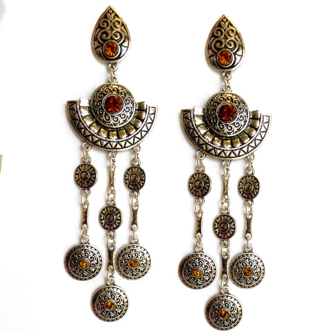Vida Bohemian Long Dangler Earrings Silver