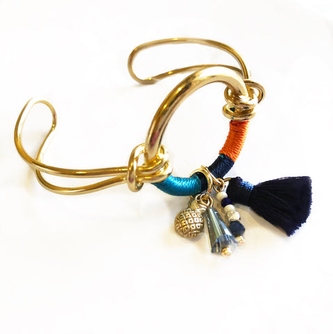 Anchor Me Tassel Bracelet Cuff Blue Orange