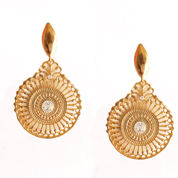 Grekko Filigree Disc Gold Earrings
