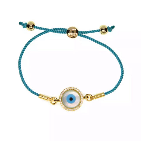 Natural Shell Evil Eye Adjustable Rope Bracelet