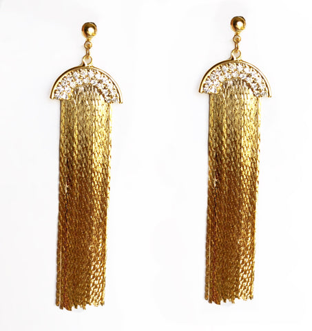 Magic Flat Mesh Stone Arch Earrings