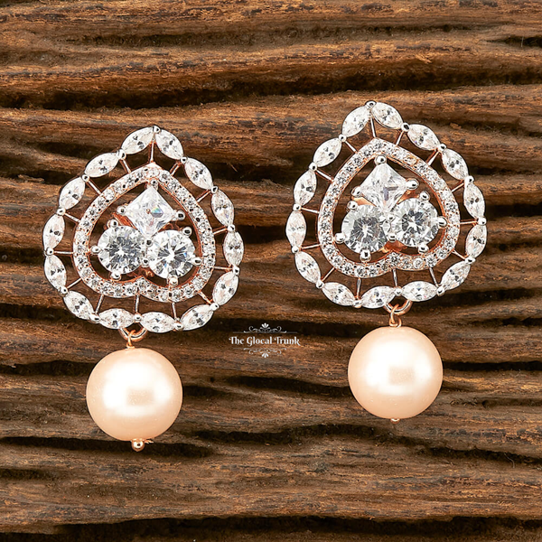 Muse Cz & Pearl Stud Drop Earrings