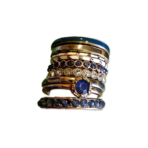 Classic Blue & Gold Stack Rings