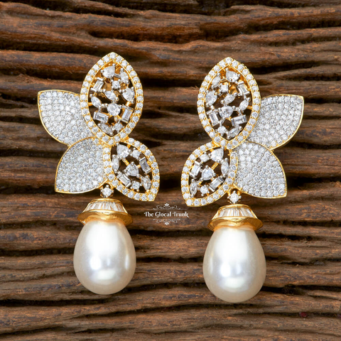 Maia Cz & Pearl Stud Drop Earrings
