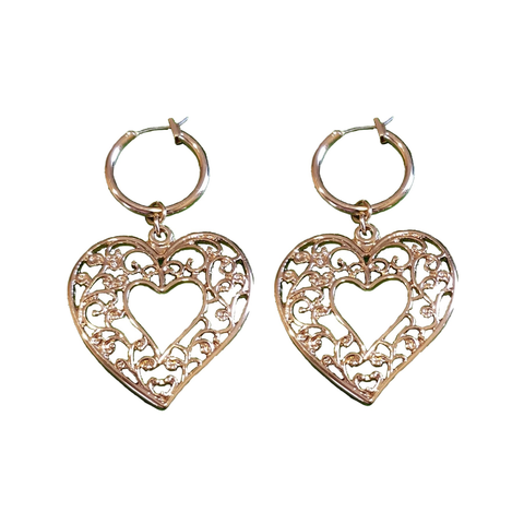 Cut Work Heart Hoop Dangler Earrings