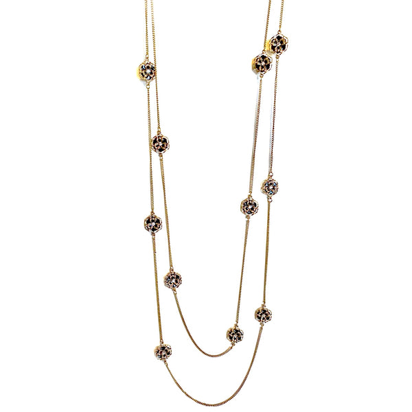 Rosy Vintage Multi-chain Long Necklace
