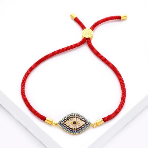 Evil Eye Rope Adjustable Bracelet - Red