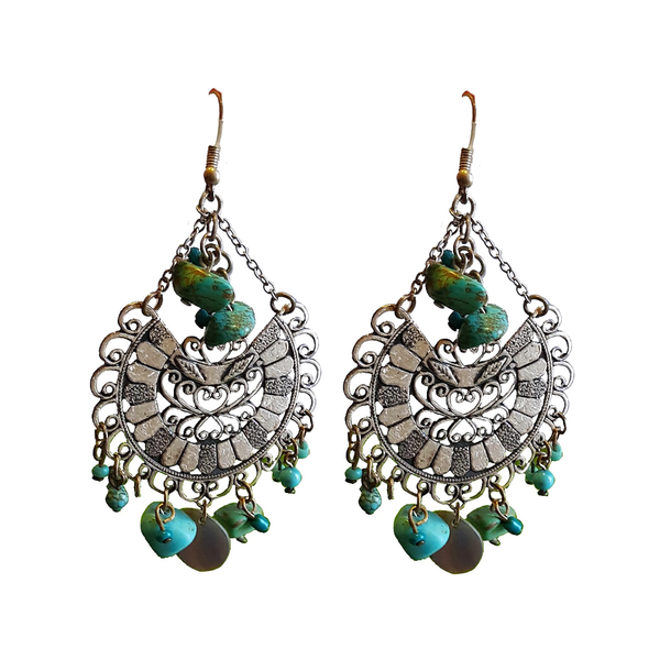 Tribal Bohemia Silver & Stone Dangler Earrings