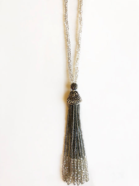 Grey Paved Tassel Necklace