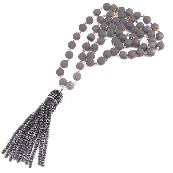 Natural Stone & Beaded Tassel Necklace - Silver