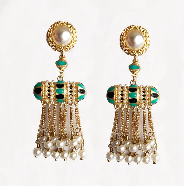 Tribal Bohemia Enamel & Pearl Dangler Earrings