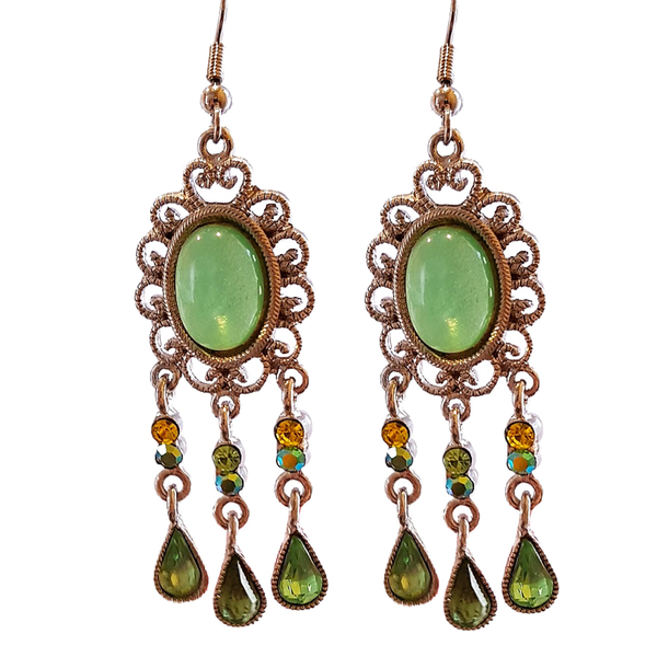 Green Bohême Hook Dangler Earrings