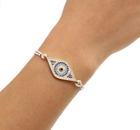 Paved Evil Eye Rope Bracelet - White