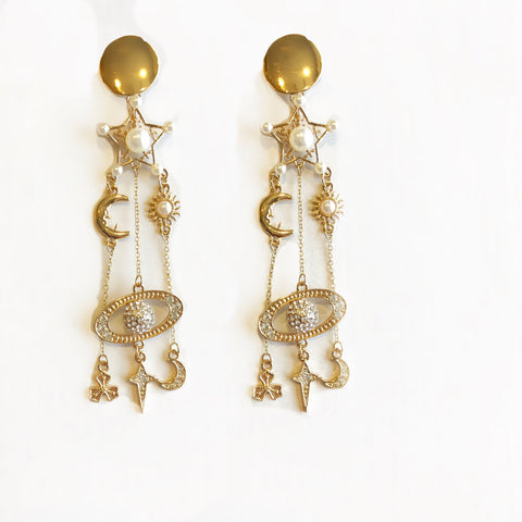 Stardust Pearl & Metal Long Dangler Earrings