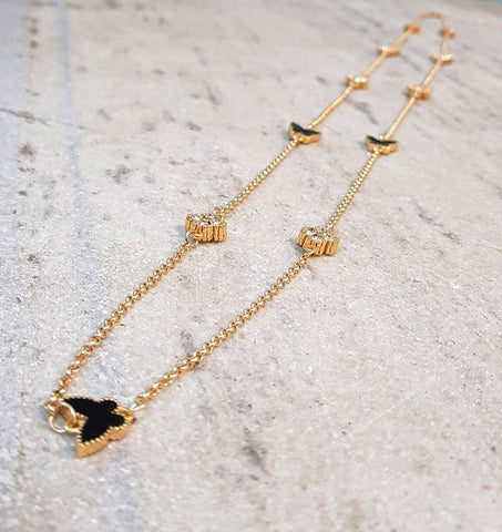 CRYSTAL AND BLACK ENAMEL BUTTERFLY LONG CHAIN NECKLACE