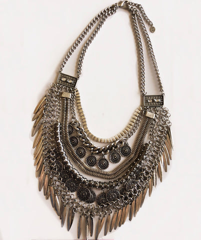 Bohemian Coin & Tassel Antique Silver Necklace