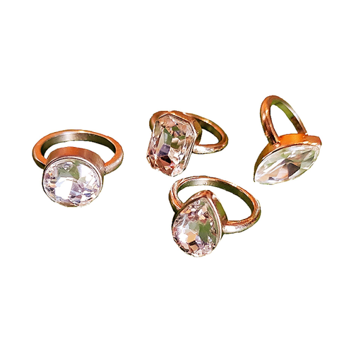 Blingy Stone & Gold Set of 4 Rings