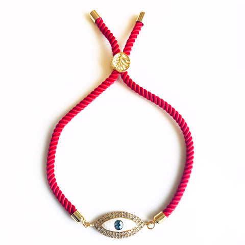 Natural Mother Of Pearl Rope Bracelet - Red
