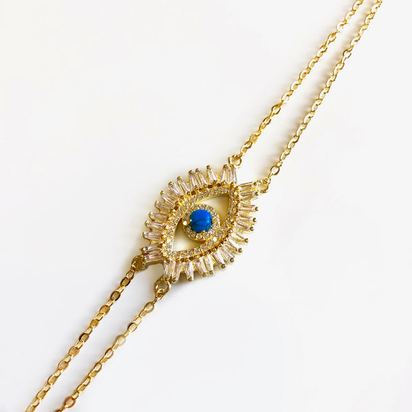 Rick Rack Evil Eye Bracelet - Gold