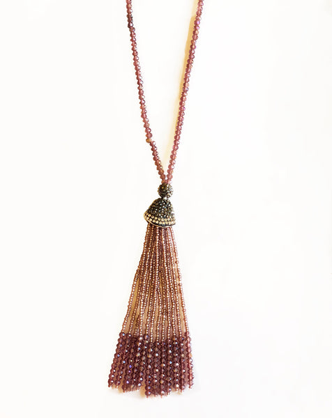 Purple Paved Tassel Necklace
