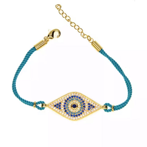 Paved Evil Eye Rope Bracelet - Blue